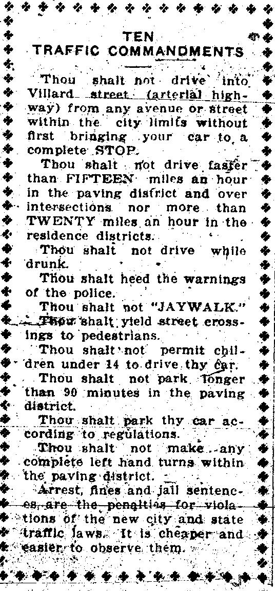 A 1927 blurp from the Dickinson Press informing readers of the new city and state traffic laws.